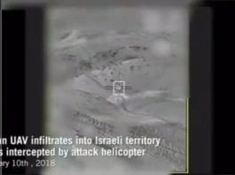 Her blir den iranske dronen og dens kontrollenhet ødelagt av IDF. (Skjermdump fra IDF)
