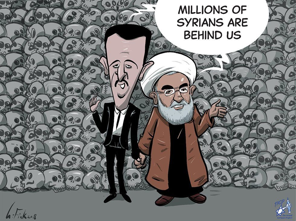 - Jeg vil heller krige med tegninger enn droner, sier Uri Fink, som har tegnet denne karikaturen.