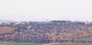 Nesten 20.000 palestinere har samlet seg langs grensen mellom Gazastripen og Israel. (Foto: Skjermdump)