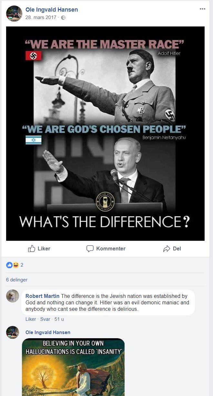 Skjermdump fra Facebook-siden til Ole Ingvald Hansen.
