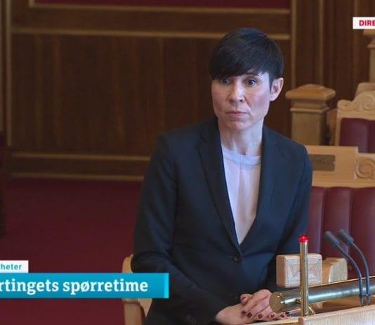 Utenriksminister Ine Søreide Eriksen. (Skjermdump fra NRKs sending fra den muntlige spørretimen på Stortinget 11. april 2018)