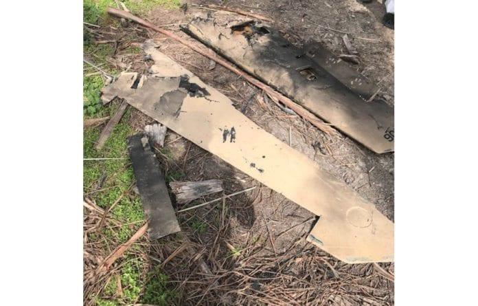 Rester av den iranske dronen som ble skutt ned i israelsk territorium i februar 2018. (Foto: IDF)