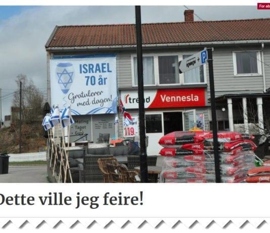 Butikken Trend i Vennesla feirer Israels 70-årsdag. (Skjermdump fra venneslatidende.no)