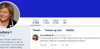Erna Solberg gratulerte Israels befolkning med 70-årsdagen. (Foto: Twitter)