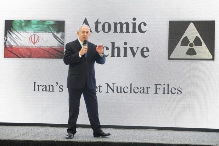Israels statsminister Benjamin Netanyahu presenterte bevis for at Iran har et atomvåpenprogram. (Foto: Amos Ben Gershom)