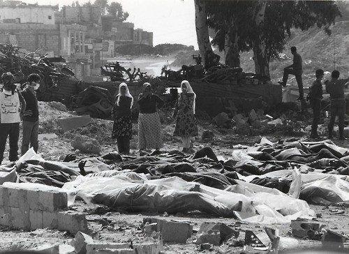 Ekte bilde: Massakren i Sabra og Shatilla. (Foto: Institute of Palestine Studies via PMW)