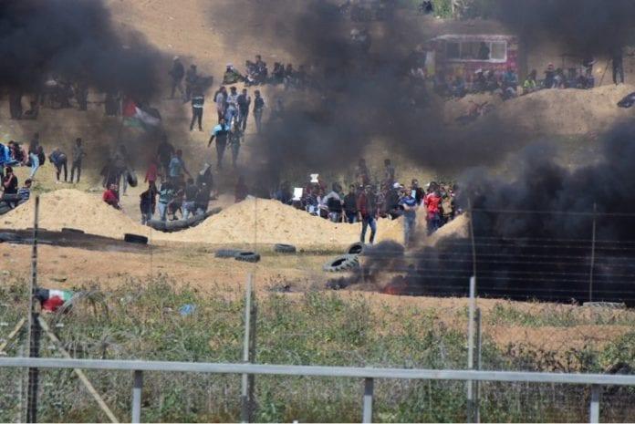 Tusenvis av palestinere har deltatt i opptøyer langs grensen mot Israel. (Foto: Det israelske forsvaret)