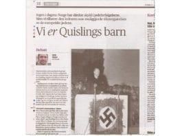 Det er helt uproblematisk å si at alle nordmenn er Vidkun Quislings barn, skriver Eirik Eiglad. (Foto: Faksimile Aftenposten)