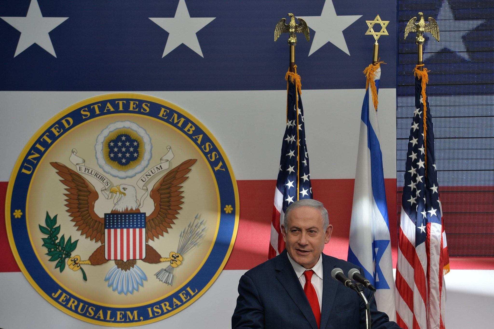 Benjamin Netanyahu var strålende fornøyd under åpningen av USAs ambassade i Jerusalem. (Foto: Avi Ohayon/Flickr)