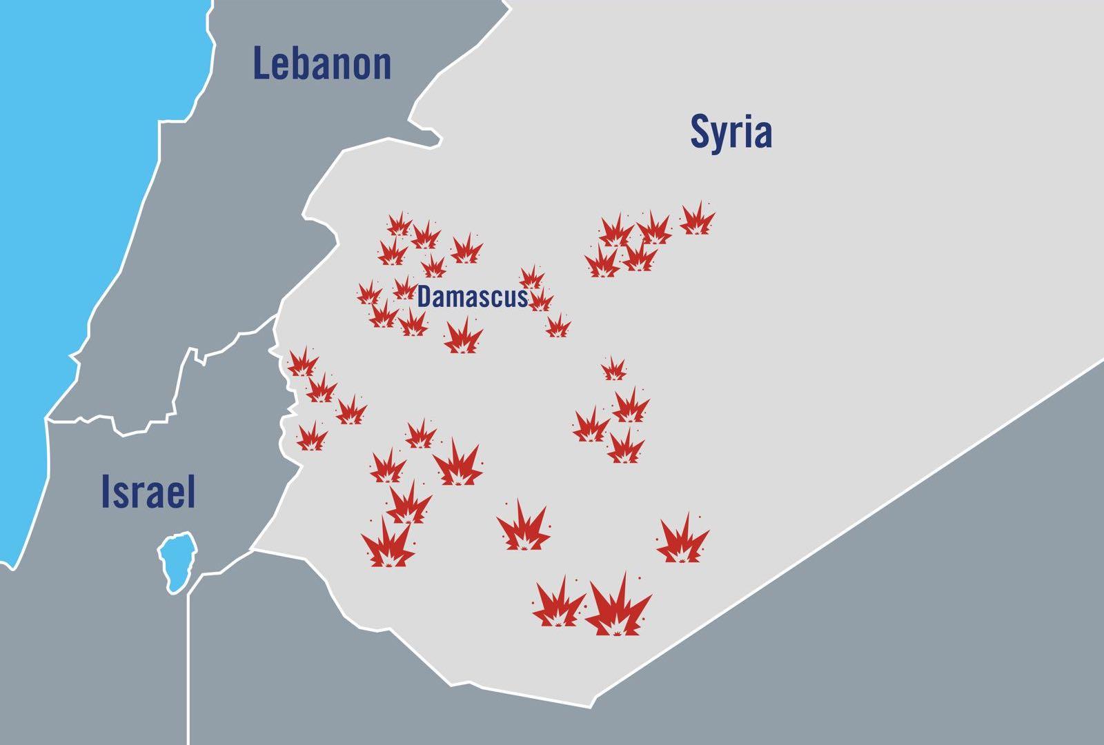 Det israelske forsvaret har publisert denne illustrasjonen, som viser hvor de har angrepet iranske posisjoner i Syria.