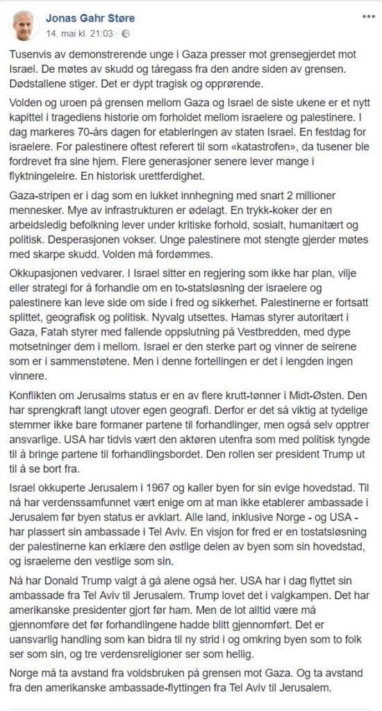 Dette skrev Jonas Gahr Støre på Facebook mandag 14. mai. (Skjermdump fra Facebook)