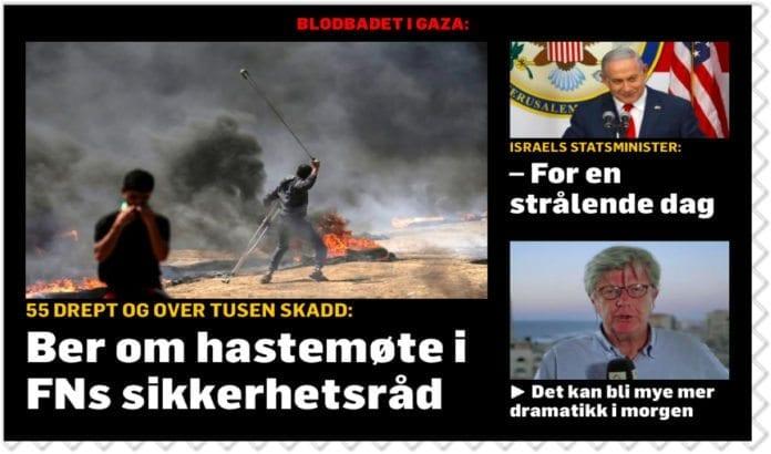 TV2 fremstiller statsminister Benjamin Netanyahu på en helt feilaktig måte i denne montasjen. (Faksimile: TV2.no)