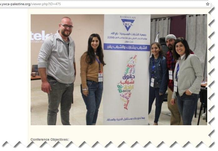 Med millioner av kroner fra norske skoleelever vil palestinske YWCA kunne vise fram kart uten Israel til langt flere palestinske ungdommer. (Skjermdump fra qwca-palestine.org, på en side som profilerer en ungdomskonferanse i oktober 2018)