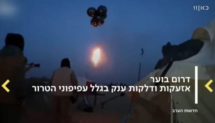 Heliumballonger frakter brannbomber. (Skjermbilde fra Kan)