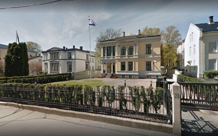 Israels ambassade i Oslo. (Skjermdump fra Google Streetview)