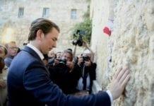 Den østerrikske kansleren Sebastian Kurz besøkte Vestmuren i Jerusalem 10. juni. (Foto: Avi Ohayon/Foreign Ministry)