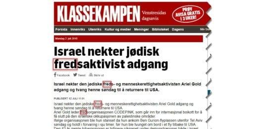 NTB-meldingen om Ariel Gold gjengitt i Klassekampen. (Skjermdump: klassekampen.no)