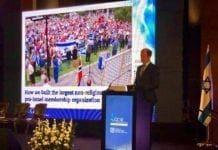 Conrad Myrland taler på konferansen til strategidepartementet i Israel 21. juni 2018. (Foto: Arsen Ostrovsky)