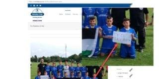 «The Football Academy of Jerusalem» bruker lagbildet på Norway Cups nettside til politisk markering. (Skjermdump fra norwaycup.no med forstørrelse av plakaten innfelt)