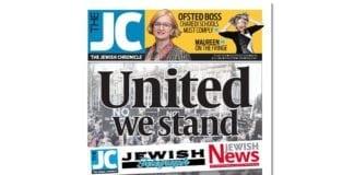 Faksmile av lederartikkelen på forsiden til Jewish Chronicle.
