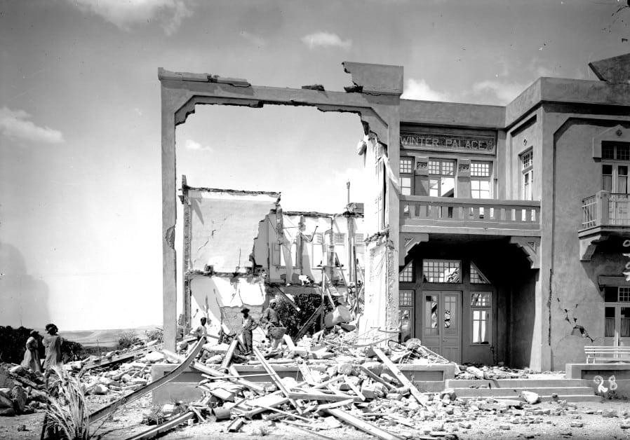 Et hotell i Jeriko raste sammen under jordskjelvet i 1927. Tre turister til Det hellige land omkom. (Foto: Wikipedia)