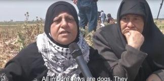 """Palestinsk kvinne: """"Alle urene jøder er hunder. De bør brennes. De er skitne."""" (Skjermdump fra Behind the Smokescreen)"""