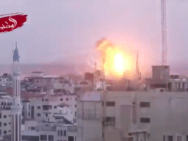 Israel gjennomførte fredag 20. juli en rekke angrep på Hamas-mål på Gazastripen etter at en israelsk soldat ble drept. (Foto: Skjermdump Twitter-video)