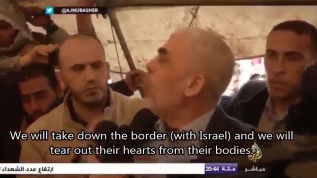 """Hamas-leder Yahya Sinwar: """"Vi skal fjerne grensen (til Israel) og rive hjertene ut av kroppene deres."""" (Skjermdump fra Behind The Smokescreen)"""