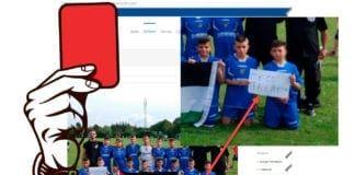 «The Football Academy of Jerusalem» får rødt kort fra Norway Cup etter at de brukte lagbildet på Norway Cups nettside til politisk markering. (Montasje: MIFF)