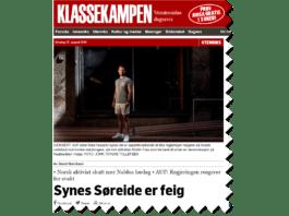 Skjermdump fra Klassekampen.no 22. august 2018.