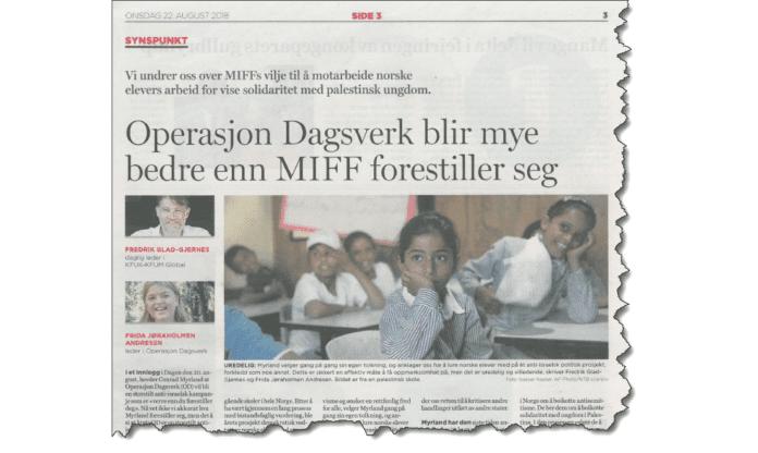 Faksmile fra avisen Dagen 22. august 2018.