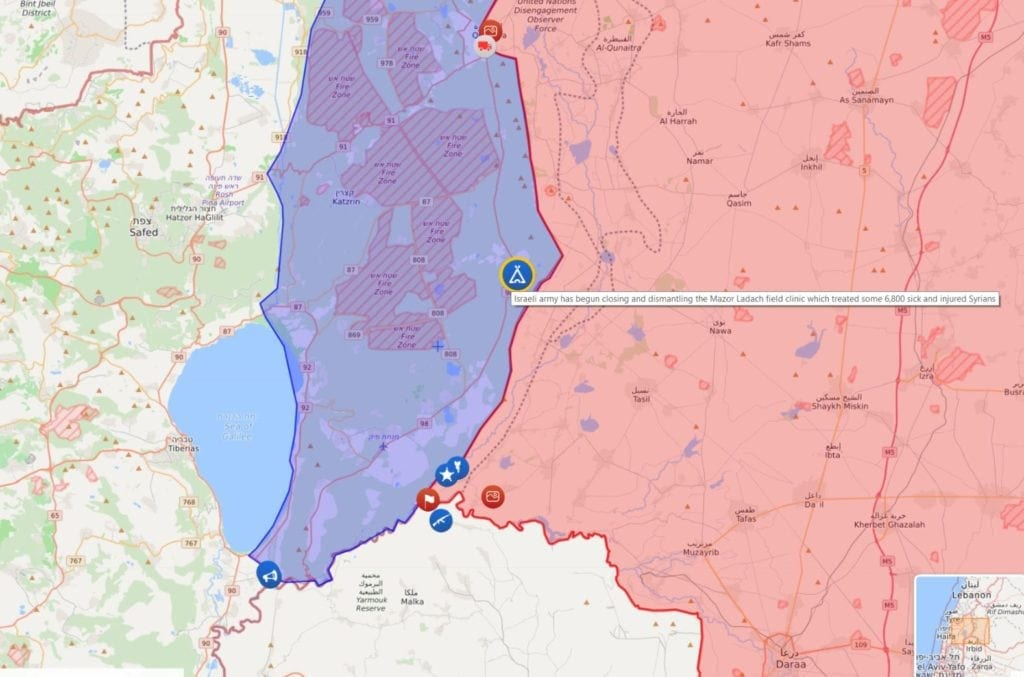 Kartet viser hvor feltsykehuset Mazor Ladach har vært plassert. (Skjermdump fra liveuamap.com)
