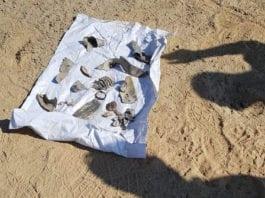 Dette er rester fra Grad-raketten som slo ned i Beersheba torsdag 9. august 2018. (Foto: Israelsk politi)