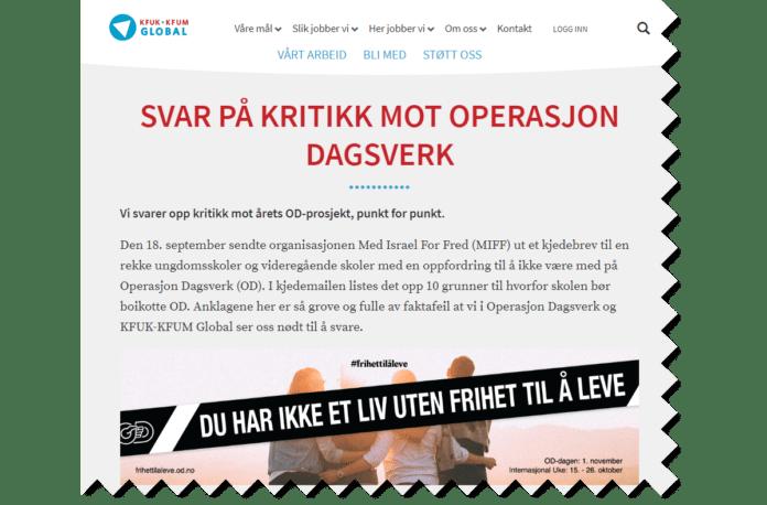 MIFF svarer KFUK-KFUM Global og Operasjon Dagsverk. (Skjermdump fra kfuk-kfum-global.no)