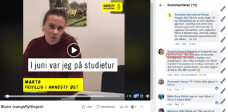 Israelere demoniseres som «ville dyr» på Facebook-siden til Amnesty International Norge Region Øst. (Skjermdump)