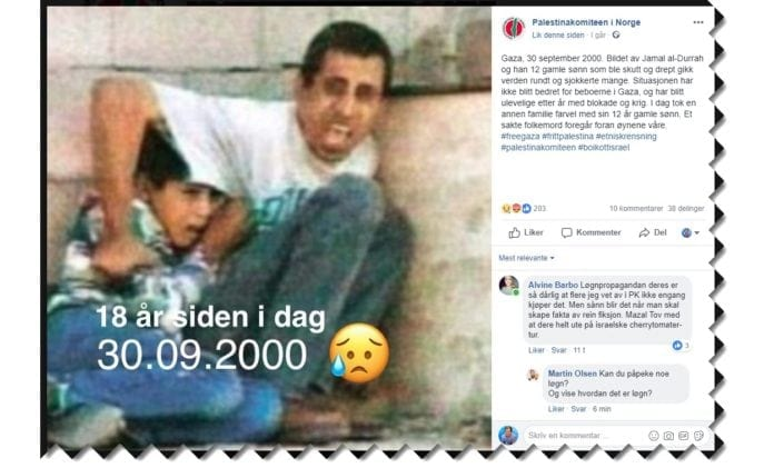 Skjermdump fra Palestinakomiteens Facebook-side 30. september 2018.