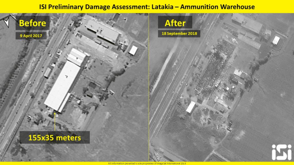 Satelittbilder viser skadene som det israelske angrepet forårsaket på militæranlegget nær Latakia. (Foto: ImageSat International)