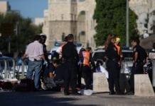 Israelske sikkerhetsstyrker utenfor Herodesporten i Jerusalem etter angrepet i 2016. (Illustrasjon: Yonatan Sindel, Flash90)