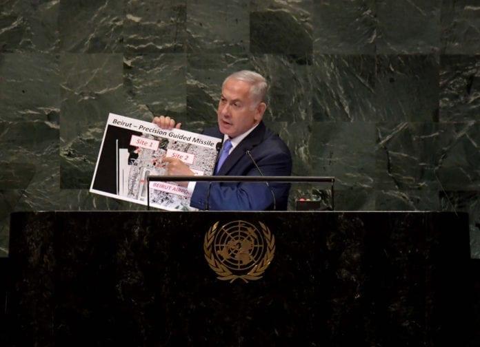 I sin tale til FNs generalforsamling presenterte Netanyahu funn av nye iranske atomlager. (Foto: Avi Ohayon/Flickr)