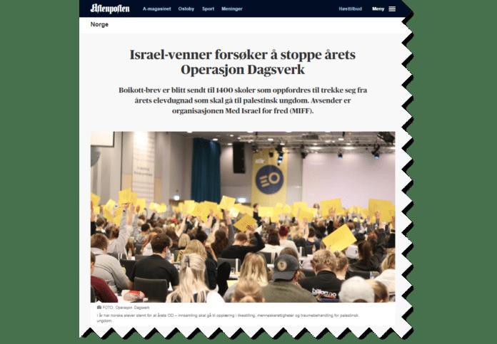 MIFFs aksjon mot årets Operasjon Dagsverk var hovedsak på Aftenposten.no torsdag 20. september. (Foto: Faksimile Aftenposten)
