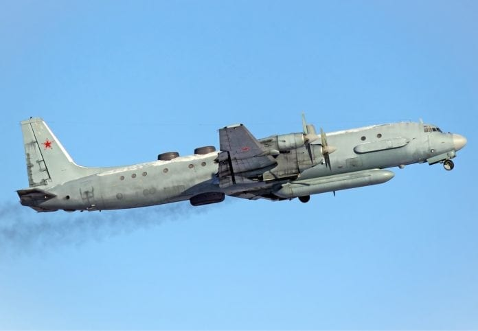 Et russisk spionfly av typen Iljusjin Il-20 ble skutt ned av det syriske militæret mandag 17. september. (Foto: Wikipedia)