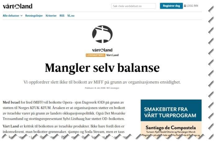 Skjermdump av Vårt Lands lederartikkel 8. oktober 2018.