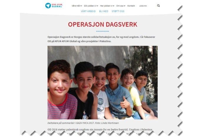 Norske skoleelever må velge 1. november: Vil jeg gi min arbeidsinntekt til å styrke organisasjoner som arbeider for å boikotte Israel? (Skjermdump fra kfuk-kfum-global.no)