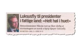 Hvorfor kom det ikke noen reaksjon da Mahmoud Abbas kjøpte like dyrt privatfly som Zambias president? (Faksmile fra Aftenposten søndag 14. oktober 2018)