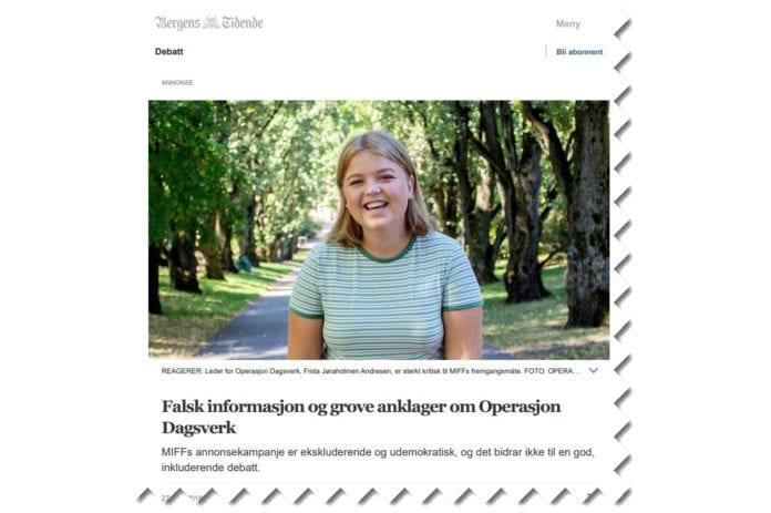 Etter at MIFF hadde en helsides annonse i Bergens Tidende og andre store aviser lørdag 27. oktober, fikk OD-lederen svare i et leserinnlegg på bt.no samme kveld. (Skjermdump fra bt.no)