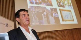 Max Meyer fra Dansk Zionistforbund talte på MIFF Forum om situasjonen til de danske jødene i dag. (Foto: Bjarte Bjellås)