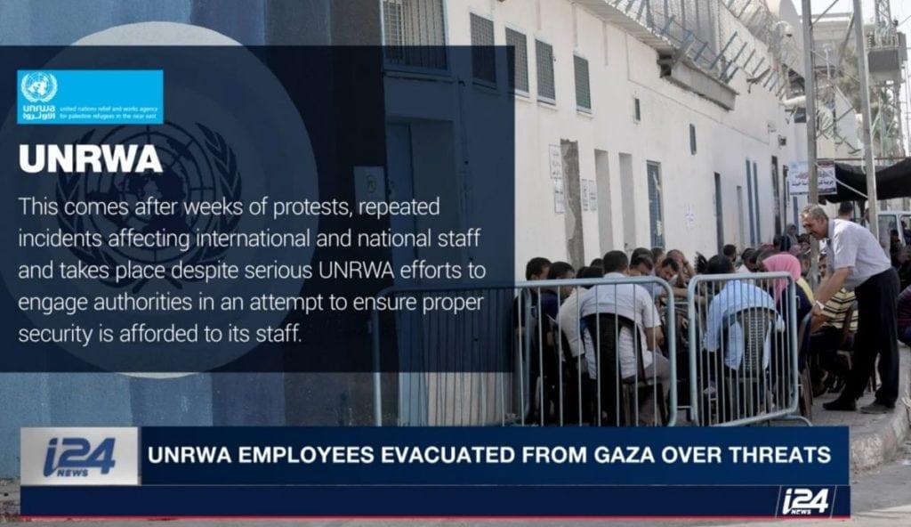 Ledelsen i UNRWA krever bedre beskyttelse. (Skjermdump fra Youtube/I24news)