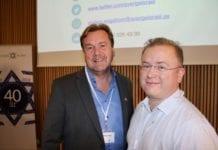 Stefan Dozzi og Anders Engström fra Vänskapsförbundet Sverige-Israel besøkte MIFF Forum 2018. (Foto: Bjarte Bjellås)