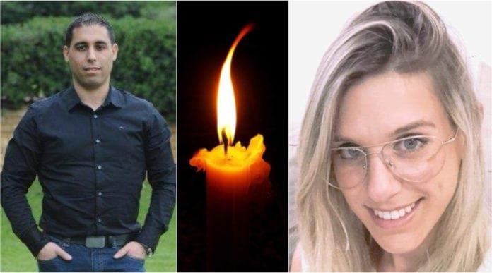 Trebarnsfaren Ziv Hajbi og enbarnsmoren Kim Levengrond Yehezkel ble drept i terrorangrepet søndag. (Foto: Privat)