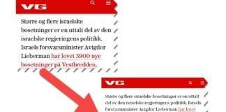 Faksmile fra VG-artikkelen før og etter.